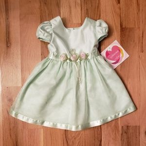 NWT Youngland Mint Green Satin Party Dress